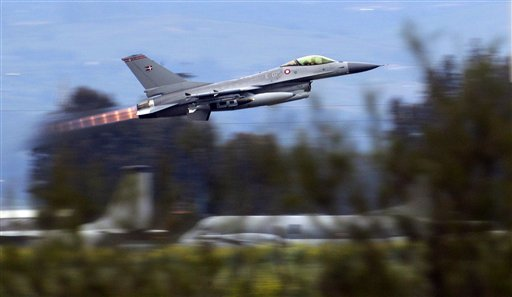 A Danish F-16 takes off from the Nato airbase in Sigonella, Italy yesterday.