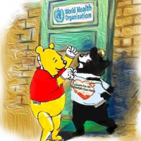 Winnie the Pooh roughs up the Formosan black bear outside the WHO