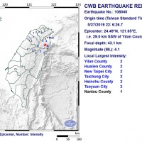 Magnitude 4.1 quake jars northeast Taiwan