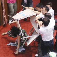 Taiwan lawmakers brawl during vote for Central Election Commission chair