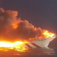 Taiwanese fishing boat bursts into flames, 30 sailors rescued