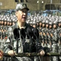 Xi Jinping speaking before troops.