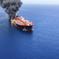 Tanker in flames in Gulf of Oman on June 13.