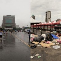 After anti-red media rally (left), post-Han rally (right). (PTT photos)