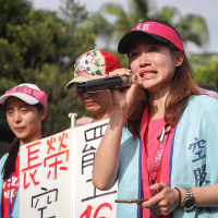 Striking EVA flight attendants urge Taiwan president to protect labor rights