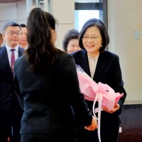 President Tsai Ing-wen (right) arriving back in Taiwan Monday morning July 22.