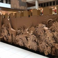 Giant cardboard maze on display in Taipei Main Station