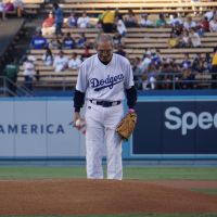Taiwan's representative to US throws first pitch at Dodgers game