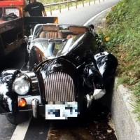 Rare British sports car crashes on Taiwan mountain road