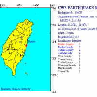 Earthquake of 4.8 magnitude strikes Hualien, Taiwan