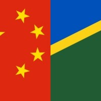 Composite of Chinese and Solomon Islands flags.