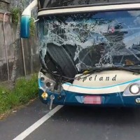 Truck tires smash a hole in bus with 43 passengers on Taiwan road