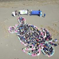 EU, Taiwan officials clean Taiwan beach to raise awareness