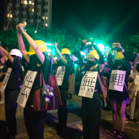 Hong Kong mask ban protest appears at Nuit Blanche Taipei