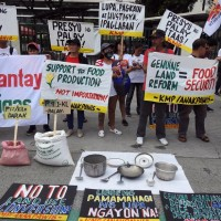 Filipino farmers protest as rice prices drop