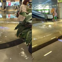 Mini-flood at Taiwan Taoyuan Airport's Food Street