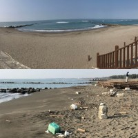 Golden Beach after (top), before (bottom). (Photo from reader)