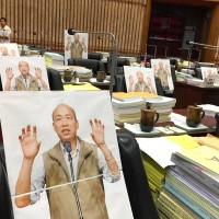 Cardboard cutouts of Mayor Han occupy Kaohsiung City Council