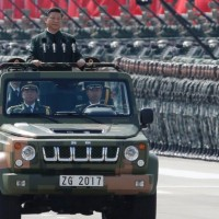 China's President Xi Jinping inspecting troops in Hong Kong in 2017.