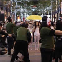 Hong Kong protest performance acted out on Taipei streets