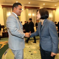 Tuvalu foreign minister visits Taiwan president