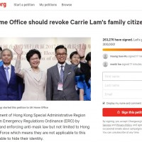 Petition to revoke British citizenship from Carrie Lam's family reaches 260,000 signatures
