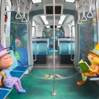 台灣淡海輕軌迎週年 全球首輛幾米彩繪列車正式啟航