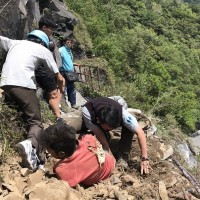 Facebook image of tourist injured by rockslide.