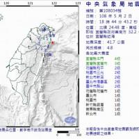 今晚宜蘭近海規模4.8地震 北台灣有感!