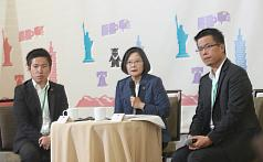 President Tsai Ing-wen holds a press conference in Denver on July 20 (Source: CNA)