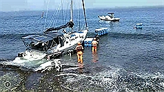 US yacht freed after 3 days on rocks in Southwest Taiwan