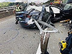 Tesla driver falls to death from ramp in New Taipei after crash