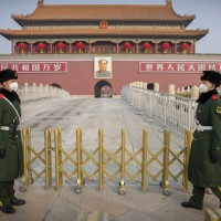 Guards at Tiananmen Gate in the Chinese capital Beijing.
