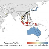 "Potential for international dissemination of the Wuhan virus via commercial air travel (Journal of Travel Medicine/<a href=""https://zh.m.wikipedia.org/wiki/File:Top_20_flight_routes_from_Wuhan_with_data_on_IDVI_for_each_country.jpeg"" target=""_blank"">Wikipedia photo</a>)"