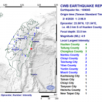 Magnitude 4.9 earthquake rocks E. Taiwan