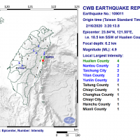Magnitude 4.9 earthquake jolts E. Taiwan