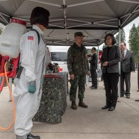 Taiwan president visits Army's chemical division amid coronavirus fears
