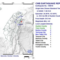 Magnitude 4.8 earthquake jolts N.E. Taiwan