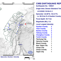 Magnitude 5.3 earthquake jolts E. Taiwan