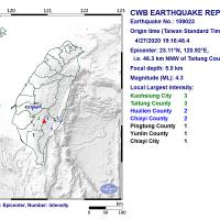 Magnitude 4.3 earthquake rattles E. Taiwan