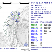 東台灣周一清晨地震芮氏規模5.2 最大震度宜蘭縣南方4級