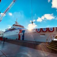 首艘4千噸巡防艦 蔡英文:「嘉義艦」為台灣海上醫療救護能量寫下新頁