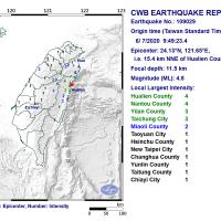 4.8 magnitude earthquake shakes NE Taiwan