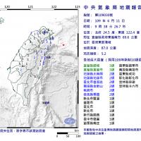 宜蘭地震芮氏規模5.2 北、中、東台灣有感