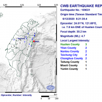 Magnitude 4.7 earthquake rocks E. Taiwan
