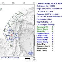 Magnitude 4.8 earthquake strikes S. Taiwan