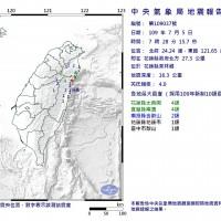 東台灣規模4.0地震 最大震度花蓮縣宜蘭縣4級