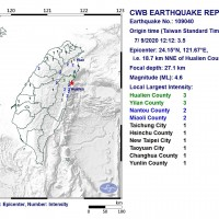 4.6 magnitude earthquake rocks N.E. Taiwan, 2nd within hour