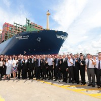 World's largest container ship docks in S. Taiwan's Kaohsiung