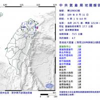 宜蘭近海地震芮氏規模4.7 北台灣震度2級